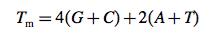 formula for calculating tm of primers